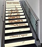 Stair Stickers Wall Stickers,13 PCS Self-adhesive,Steam Engine,Old Times Train Vintage Hand Drawn Iron Industrial Era Locomotive,Ivory Pale Caramel,Stair Riser Decal for Living Room, Hall, Kids Room D
