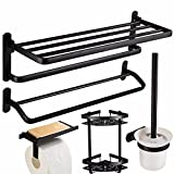 Free punching towel rack, space aluminum black bathroom rack, bath towel rack, bathroom hardware, bathroom pendant set,D,Suit
