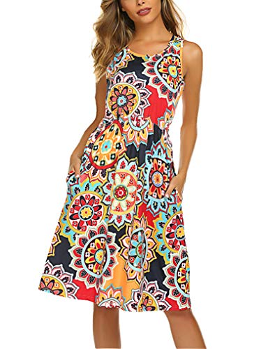 OURS Women's Floral Print Racerback Sleeveless Midi Summer Casual Dress Orange L