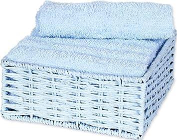 Autrefois Juego de 6 toallas para invitados con cesta, 30 x 30 cm, azul pastel, 45 x 30 cm: Amazon.es: Hogar