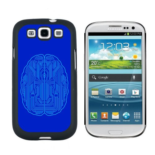 Graphics and More Blue Motherboard Brain - Computer Geek Nerd Snap On Hard Protective Case for Samsung Galaxy S3 - Black