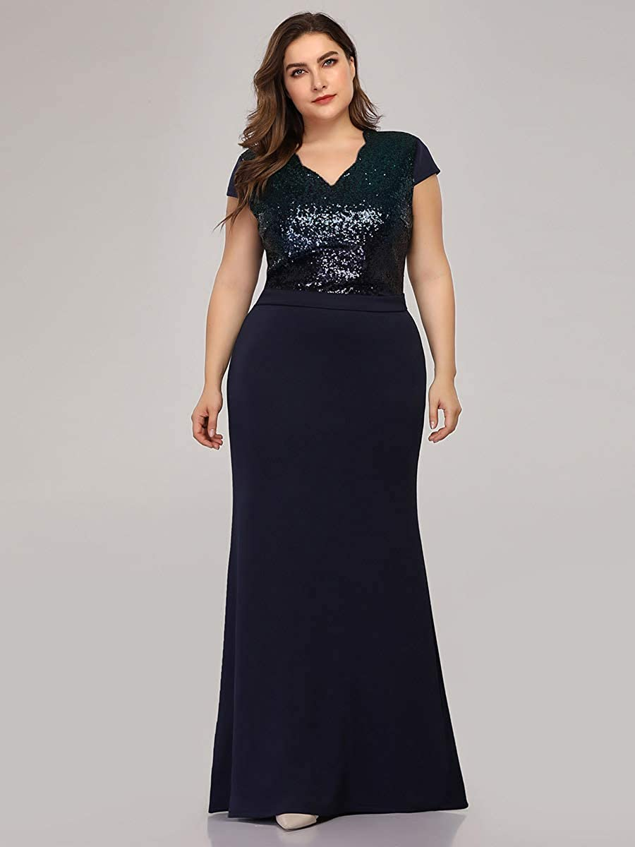 Ever-Pretty Womens V Neck Floor Length Cap Sleeve Long Sequin Knit Plus Size Formal Evening Dresses 07989