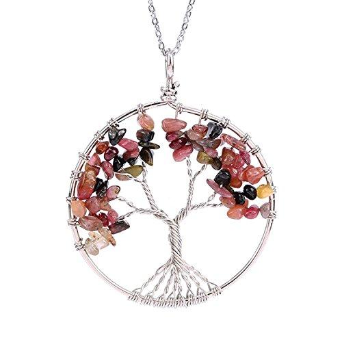 LIANTSH Tree of Life 7 Chakras Necklace Handmade Gemstone Amethyst Crystal Pendant Jewelry Gifts- Tourmaline lucky tree (Earrings Date Tourmaline)