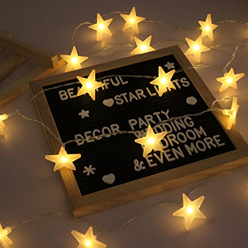 Star String Lights, Battery Powered, 40 Warm White Twinkle Stars, Indoor and Outdoor Decoration for Kids Room, Bedroom, Wall, Teepee Tent, Wedding, Birthday, Holidays, Party, Christmas, 16.4 FT