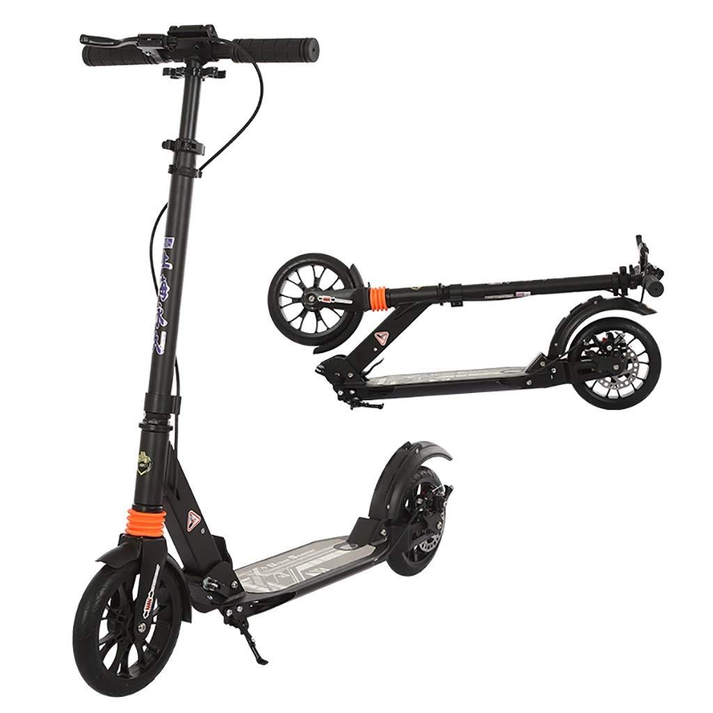 キック ボード 通勤, 大人用スクーター、折りたたみ式二輪スクーター、20CM大型ホイールベアリング150KG、前後ダブルサスペンション、ディスクブレーキフットブレーキ(非電動)