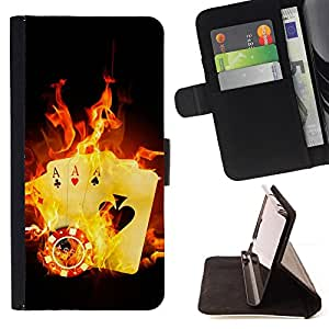 DEVIL CASE - FOR Sony Xperia Z2 D6502 - Cards Game Ace Poker Fire Symbol Hell - Style PU Leather Case Wallet Flip Stand Flap Closure Cover