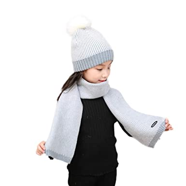 97e973418 Zoylink Kid's Hat Winter Warm Windproof Pom Pom Hat Knitted Hat with ...