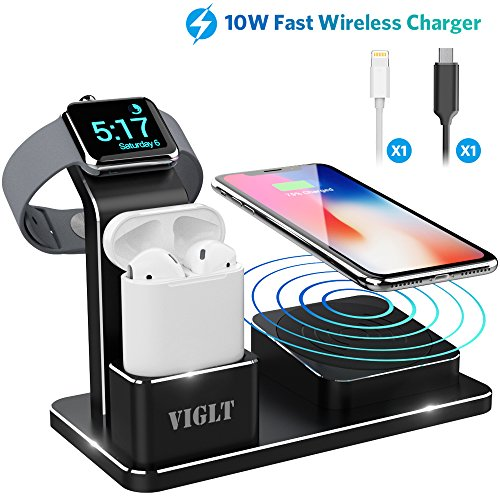 Apple Watch Stand 10W Wireless Charger iPhone X VIGLT Aluminum 3 in 1 Apple Watch Charging Stand AirPods Wireless iPhone Charging Docking Station for Apple Watch Series 3/2/1 AirPods iPhone X 8 8 Plus from VIGLT