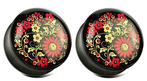 Zaya Body Jewelry Printed Flower Organic Ebony Wood Double Flared Saddle Plugs 2g 0g 00g 1/2 9/16 5/8 3/4 7/8 1 inch (00g 10mm)