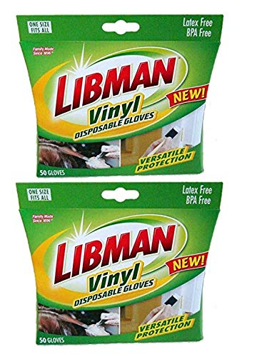 Libman Vinyl Disposable Gloves Clear One Size Fits All clear, Latex Free And Allergy Free 50 Gloves (2)