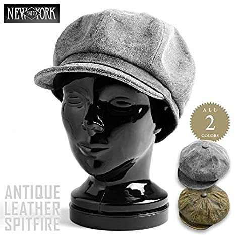 b3a7ad31 Amazon | New York Hat ニューヨークハット ANTIQUE LEATHER SPITFIRE 9245 キャスケット | キャップ  通販