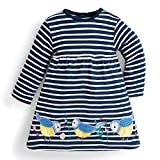 Tkria Girls Cotton Long Sleeve Dress Toddler Little Girl Floral Printed Casual Tee Dresses