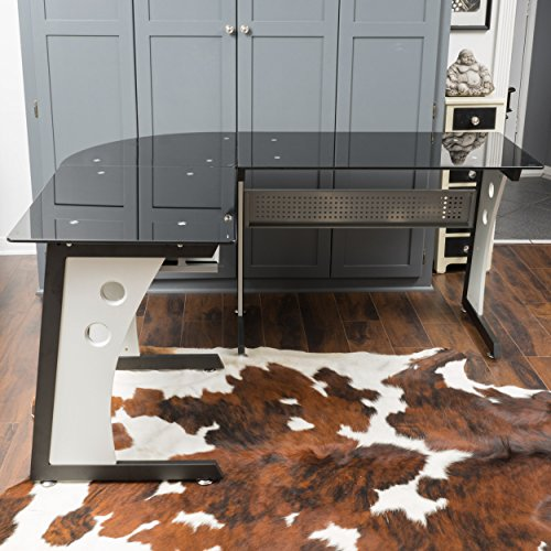 Orion L Shaped Office Desk with Tempered Glass Top