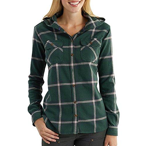 Carhartt Women's Belton Hooded Flannel Shirt, Darkest Spruce Heather, Large ()