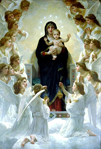 Virgin Mary and Child Jesus POSTER A3 Print Madonna and Angels picture Bouguereau Blessed Mother image Holy Mary painting Catholic Christian Religious Wall Art Decor for Home Room (Catholic Images Of The Blessed Virgin Mary)
