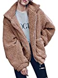 Famulily Women's Long Sleeve Zip up Faux Shearling Shaggy Oversized Open Front Coat Jacket with Pockets Khaki Meidum