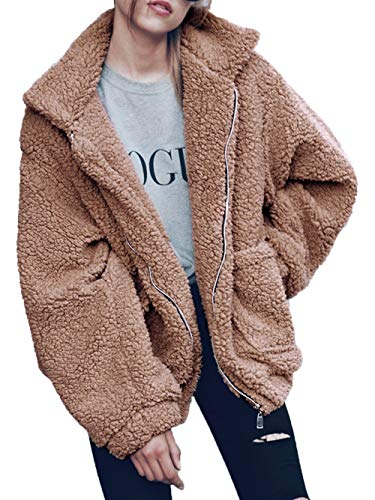 Famulily Women's Long Sleeve Zip up Faux Shearling Shaggy Oversized Open Front Coat Jacket with Pockets Khaki Large
