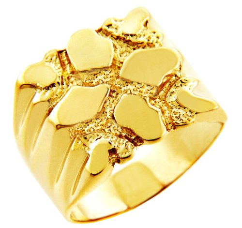 Men's Gold Nugget Rings - The Summit Solid Gold Nugget Ring(14K) (13)