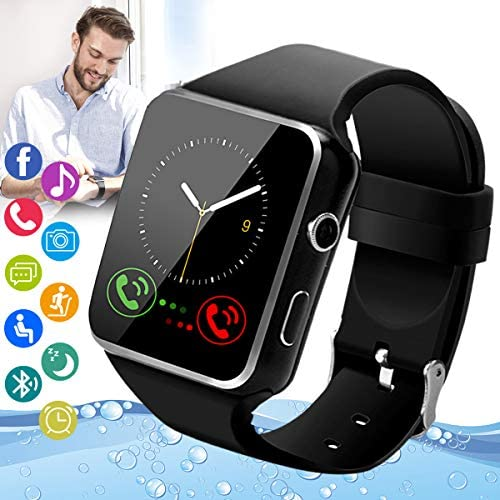 Amokeoo Smart Watch,Android Smartwatch Touch Screen Bluetooth Smart Watch for Android Phones Wrist Phone Watch with SIM Card Slot & Camera,Waterproof Sports Fitness Watch Tracker for Men Women Black