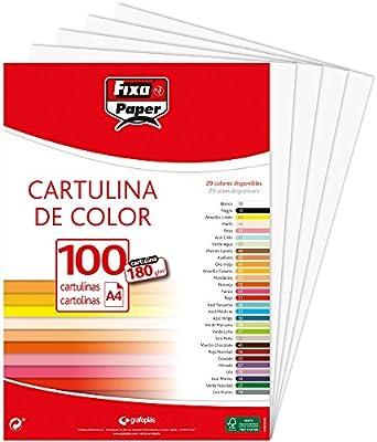 Fixo Paper 11110470 - Pack de 100 – Cartulina blanca A4, 180g: Amazon.es: Oficina y papelería