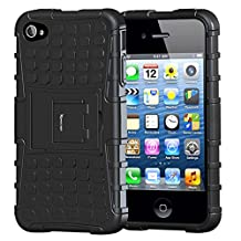 iPhone 4 Case,iPhone 4s Case,Apple iPhone 4 Case,Armor Heavy Duty Protection Rugged Dual Layer Hybrid Shockproof Case Protective Cover for Apple iPhone 4 4S with Built-in Kickstand (Black)