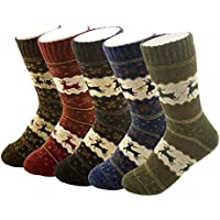 5-Pack YSense Womens Thick Knit Warm Casual Wool Crew Winter Socks(fits shoe size 5-10)