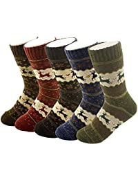 Pack of 5 Womens Thick Knit Warm Casual Wool Crew Winter...