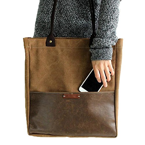 Fantasylinen Handcrafted Canvas and Leather Casual Tote Bag Shopper Bag Handbag in coffee by Fantasylinen