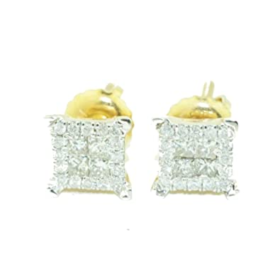 848516268 Image Unavailable. Image not available for. Color: Gold Earrings For Men Princess  Cut Diamond ...
