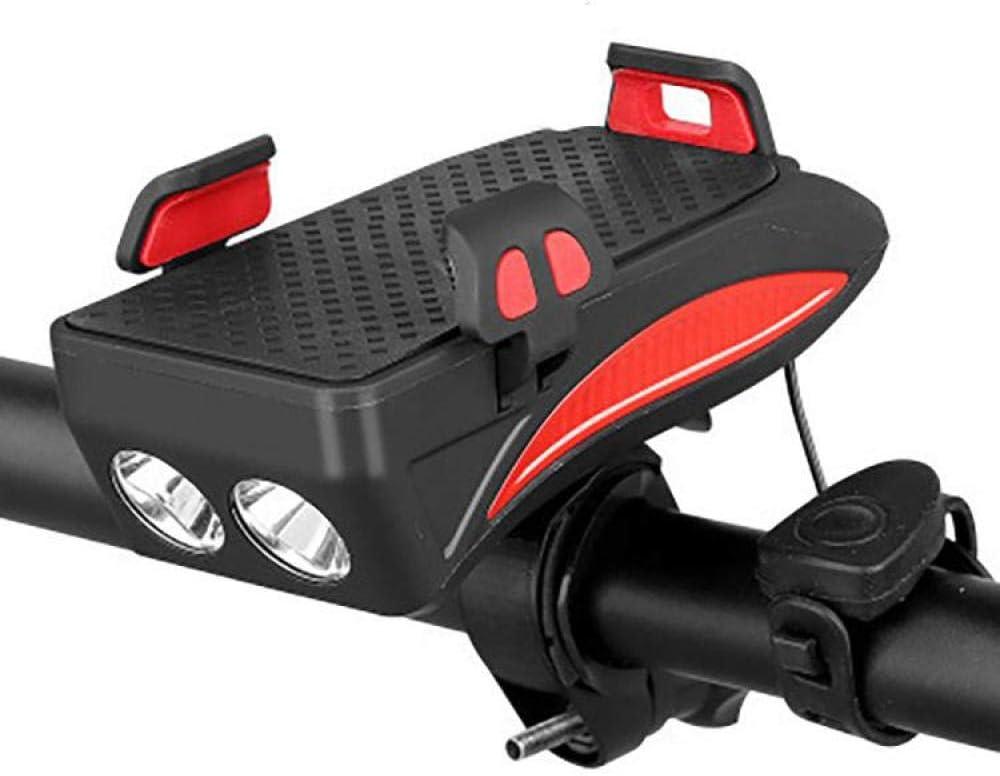 HZFZ /Éclairage de v/élo LED Support de t/él/éphone Portable /Équitation Haut-Parleur de lumi/ère Avant USB 4 en 1 Accessoires d/équitation Multifonction