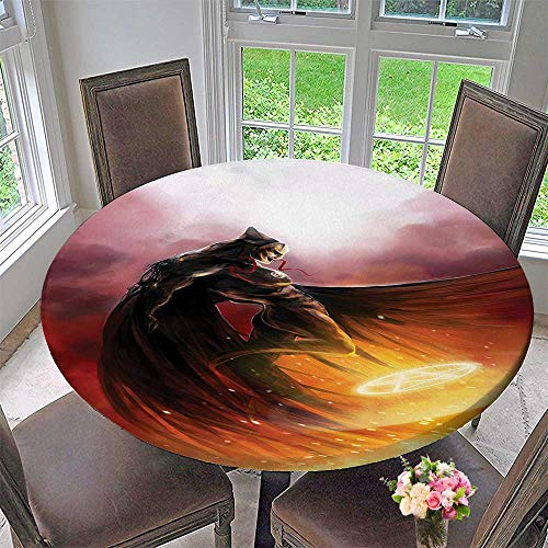 Simple Modern Round Table Cloth Decor Superhero in His Original Costume Flying Up to Magic Flame Save The for Daily use, Wedding, Restaurant 67