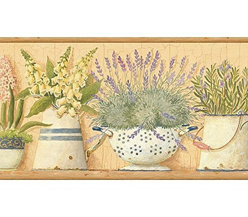 Wallpaper Border Green Lavender Flowers in Pitchers & Bowls on Shelf Brown Trim by Chesapeake