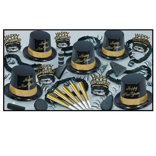 Gold Legacy – Legend Schwarz& Gold & silber New Year 's Party Sortiment Kit for 25 Goldfarben SchwarzSchwarz  Gold Kit for 100