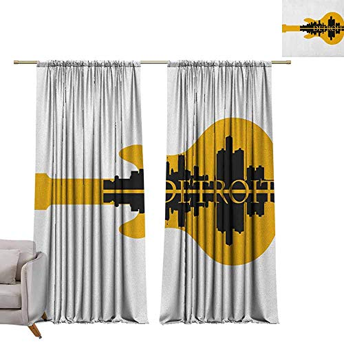berrly Grommet Blackout Curtains Detroit,High Rise Buildings Silhouette Reflection Electric Guitar Instrument Music Theme, Yellow Black W84 x L84 Art Drapery Panels