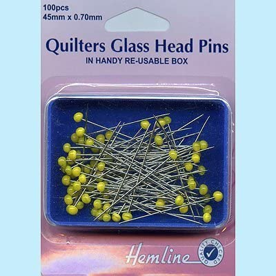 Hemline Quilters Glass Head Pins