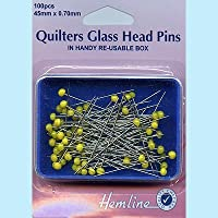 Hemline Hangsell Glass Head Pin Quilters Glass Head Pins,Nickel
