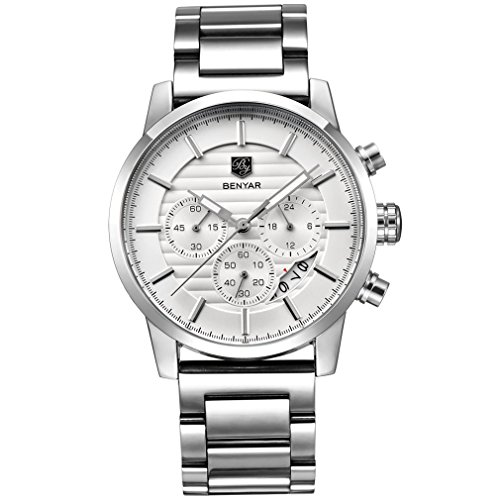 Chronograph Watch Stainless Steel Strap (BENYAR Quartz Chronograph Waterproof Mens Watches Business Sport Design Stainless steel Band Strap Gentleman Wrist Watch (Steel White B))