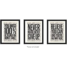 Motivational Inspirational (3-Set) Vintage Upcycled Dictionary Art Teen Boy Girl Sports Wall Posters Decorative Prints Black White Workout Fitness Print Sign Minimalist Dorm Nursery Antique (8 x 10)