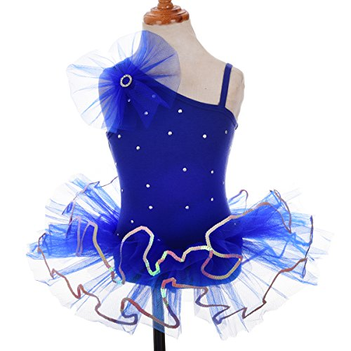 [Dressy Daisy Girls' Beaded Sequined Ballet Tutus Child Dance Costume Dress With Arm Mitts Size 5-6] (Dance Costumes Kids Usa)