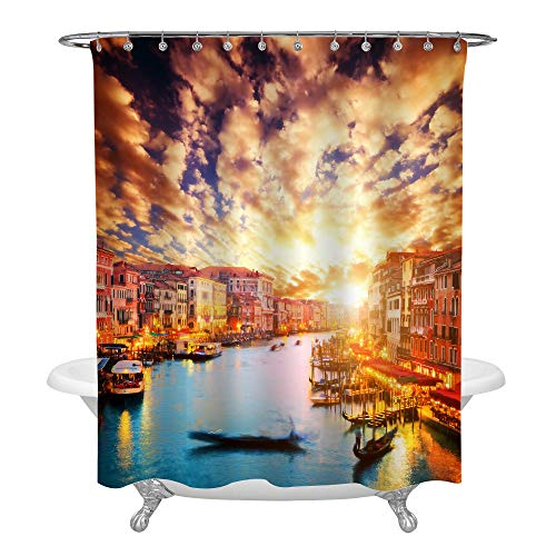 MitoVilla Gold Romantic Sunset Italian Venice Landscape Shower Curtain Set with Hooks, No Liner Needed, European Landmark Bathroom Curtain for Landscape Home Decor, 72 W x 72 L inches (Italy Shower Curtain)