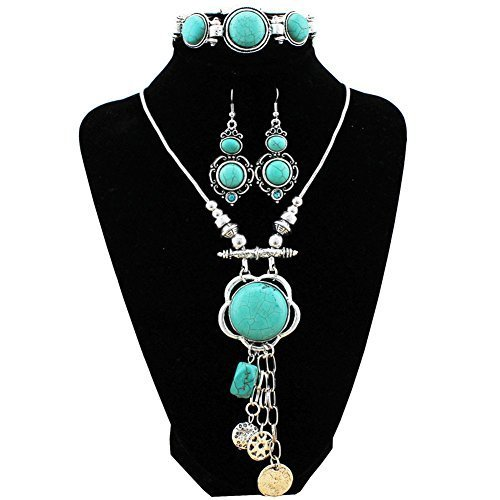 Fancy Earrings Jewelry (XY Fancy Retro Craft Vintage Look Antique Silver Plated Snail Pendant Necklace Bracelet Earrings Real Turquoise Jewelry Sets (S001))
