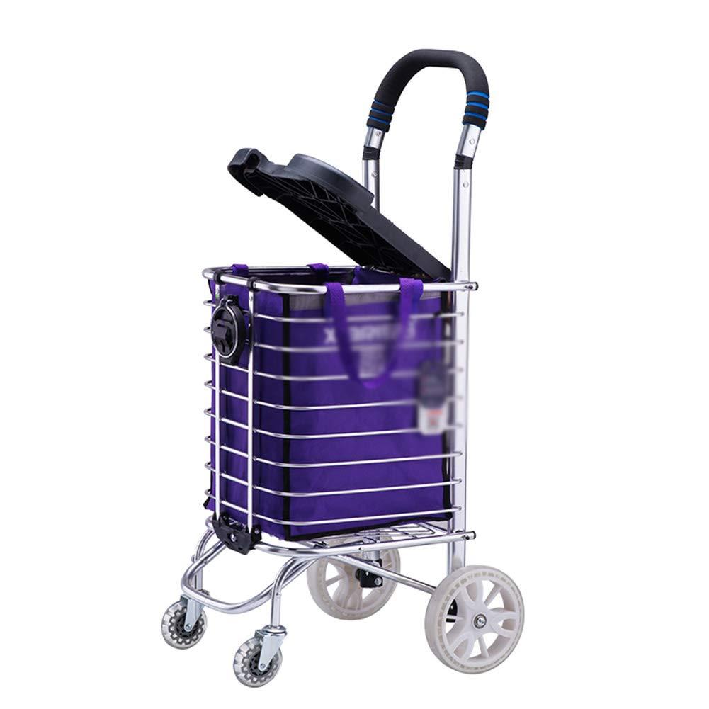 ZHAOHUI ショッピングカート アルミニウム合金 折りたたみ可能 防錆 軽量 PUホイール、 35L大容量、 3のスタイル (Color : B) B07JHZS1FZ B