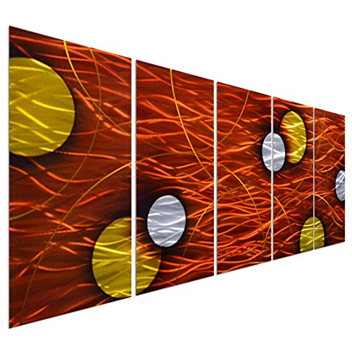 Pure Art Earth and Moon Dance Metal Wall Art Decor - Large Modern Artwork Set of 5 Panels - Decorative Sculpture for Kitchen or Living Room - 64