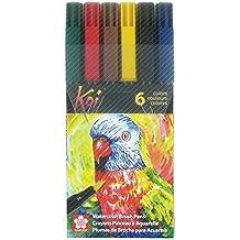 Sakura XBR-6CSA 6-Piece Koi Coloring Brush Pen Set, Assorted Colors