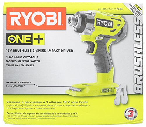 Ryobi P238 18V One+ Brushless 1/4 2,000 Inch Pound, 3,100 RPM Cordless Impact Driver w/ Gripzone Overmold, Belt Clip, and Tri-Beam LED (Power Tool Only, Battery Not Included) by Ryobi (Image #6)