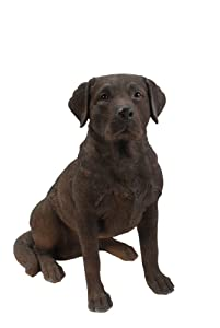 Hi-Line Gift Ltd Sitting Labrador Retriever Dog Statue, Brown