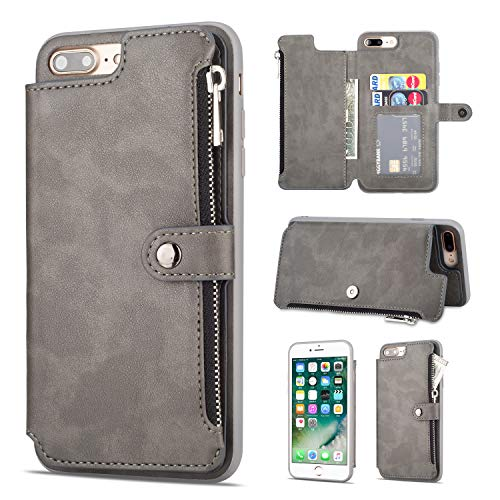 Shinyzone iPhone 8 Plus/iPhone 7 Plus 5.8 inch Case,Zipper Wallet Case with Credit Card Holder and Cash Pocket Magnetic Buckle Stand Function Leather Flip Back Protective ()