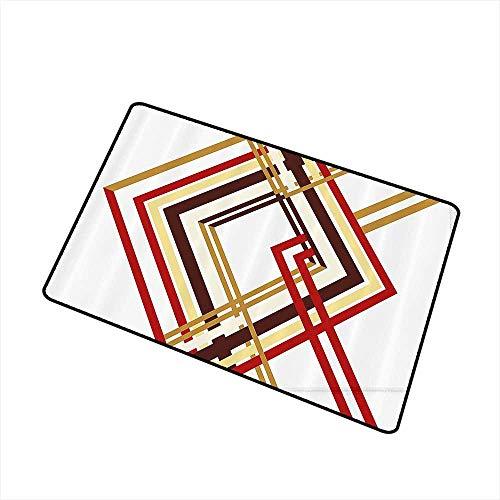 (Axbkl Outdoor Door mat Modern Retro Style Diamond Like Border Line Geometrical Artwork Design W16 xL20 Hard and wear Resistant Ruby Caramel Brown and Tan)