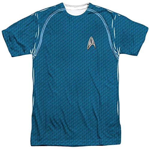 Star Trek Sci-Fi Action TV Series Retro Blue Uniform Adult 2-Sided Print T-Shirt