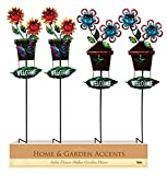 Alpine Kab455a Solar Welcome Sign Flower Garden Stake